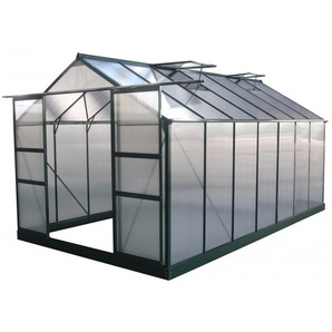 Serre de jardin 13,2m² verte polycarbonate 4mm + embase Green Protect