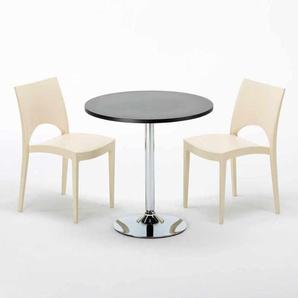 Table Ronde Noire 70x70cm Avec 2 Chaises Colorées Grand Soleil Set Intérieur Bar Café PARIS COSMOPOLITAN | Beige
