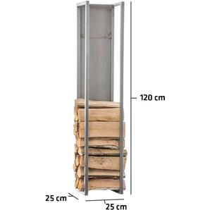 Porte-bûches Spark acier acier affiné 25x25x120 cm - BAUWERK MANUFACTURE