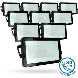 Lot de 10 Projecteurs LED 50W Noir Extérieur IP65 | Température de Couleur: Blanc chaud 2700K - ECLAIRAGE DESIGN