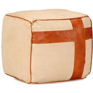 Pouf Sable 40 x 40 x 40 cm Toile de coton et cuir - VIDAXL