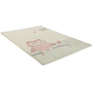 Tapis enfant Eule Beige/Fuchsia 160x230 cm - Tapis pour chambre denfants/bébé