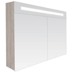 Saniclass 2.0 Armoire toilette 120x70x15cm avec 2 porte et éclairage LED Beach 7219