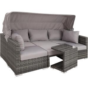 Salon de jardin SAN MARINO 6 Places - Modulable avec Auvent rabattable - en Résine tressée et Aluminium Gris - TECTAKE