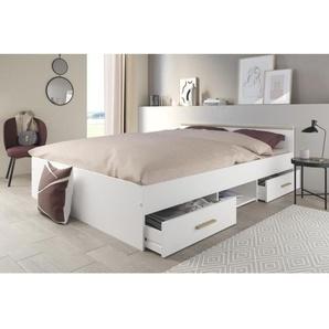 ZODIAC Lit 140x190 cm - 2 tiroirs + 1 niche - Décor blanc et bois clair - L 146 x H 59 x P 193 cm