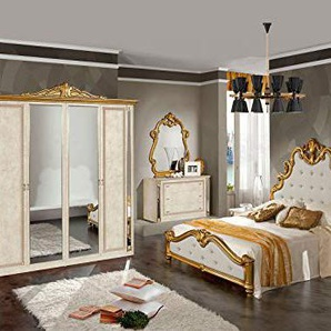 Nadir Laque Beige ET Dore Chambre A Coucher: L Ensemble avec L Armoire + Le Lit 160/200 + 2 Chevets + La Commode + Le Miroir.