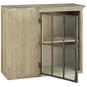 Meuble haut dangle de cuisine ouverture gauche en bois recyclé gris L 97 cm Copenhague