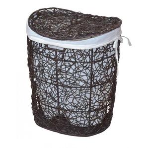 Panier à linge avec deux housses protection en rotin marron tissé à la main - DéCOSHOP26