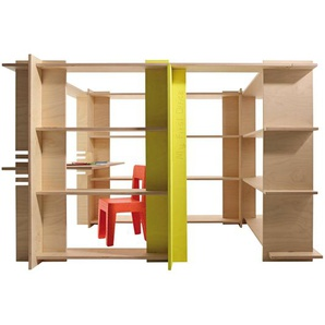 Magis My First Office Shelving System Kids room - beech/yellow/incl. bureau/PxHxP 208x173x44cm