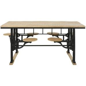 Table à manger 8 personnes avec tabourets en manguier et fonte L180 Factory