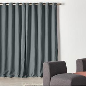 Wespa, une paire de rideaux à œillets doublés en coton 168 x 182 cm, charbon