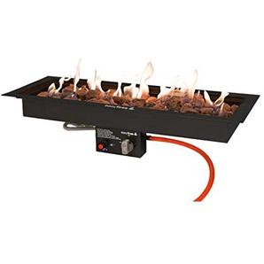 Easyfires Brûleur à gaz rectangulaire en Acier Inoxydable Noir 76 x 26 cm
