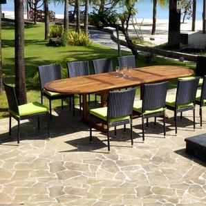 Salon en teck Sumatra 10-12 places chaises en résine avec coussins