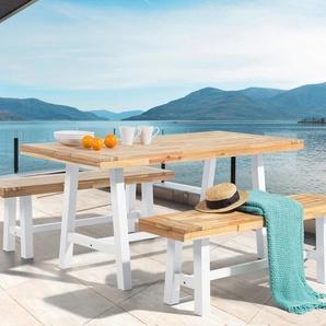 Table et 2 bancs de jardin en bois blanc SCANIA