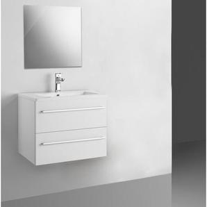 Adema Bella Set de meubles salle de bains 80.6x47.5x50.5cm avec trop plein avec miroir blanc