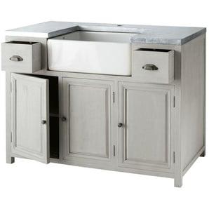 Meuble bas de cuisine avec évier en bois dacacia gris L 120 cm Zinc