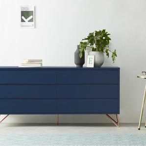 Elona, commode 6 tiroirs large, bleu et cuivre