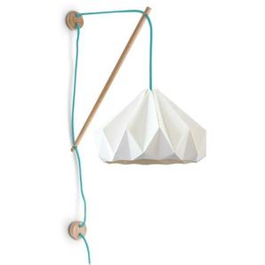 CHESTNUT-Applique Bois & Papier Ø28cm blanc fil turquoise Studio Snowpuppe - designé par Studio Snowpuppe