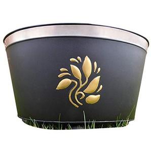 Jardin Brasier Bowl Brazier Incinérateur noir avec des feuilles dor 41x30x26cm