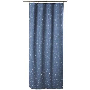 Rideau à illets bleu marine imprimé à lunité 110x250