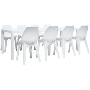 Ensemble de mobilier de jardin 9 pcs Plastique Blanc