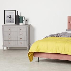 Skye, lit king size (160 x 200) avec sommier, velours rose poudré