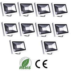 10×Auralum 50W Projecteur LED Ultraléger Spot LED IP65 3700LM Lumière Extérieur et Intérieur Blanc Chaud 2800-3200K avec Coque Blanche