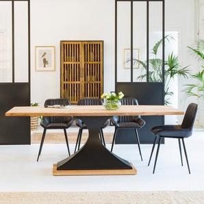 Table à manger industrielle en acacia, pied central design