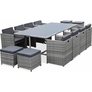 Salon de jardin Vasto nuances de Gris table en résine tressée 8 à 12 places, fauteuils encastrables - ALICES GARDEN