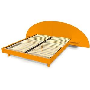 Lit adulte ARC bois avec tête et chevets intégrés 160x200 Orange