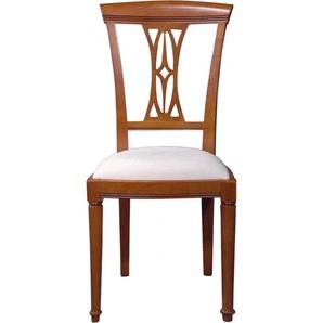 Chaise merisier dossier sculpté assise tissu