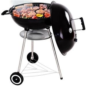 COSTWAY Barbecue à charbon acier émaillé BBQ avec roues mobile noir diamètre 57cm avec thermomètre