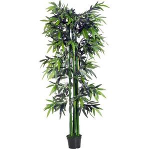 Bambou artificiel XXL 1,80H m 1105 feuilles denses réalistes pot inclus noir vert - Outsunny