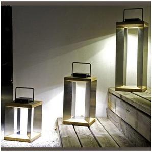 Lanterne Solaire TECK Inox SEL Les Jardins - Metal - Taille 2 - Extérieur - Détecteur de mouvement - Metal