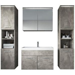 Meuble de salle de bain Paso xl – Armoire de rangement Meuble lavabo evier Meuble lavabo Beton (gris) 80x40 cm - BADPLAATS