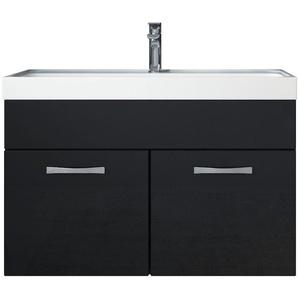 Meuble de salle de bain Paso 01 80x40cm lavabo Noir brillant – Armoire de rangement - BADPLAATS