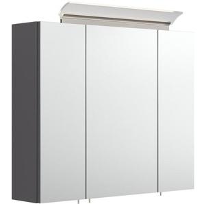 Armoire de toilette avec miroirs et Lampe LED acrylique 75cm Anthracite satiné - EMOTION