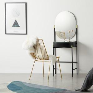 Masa, coiffeuse en métal noir, laiton et marbre