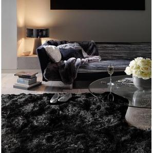 Tapis shaggy à poils longs Bright Noir 70x140 cm - Tapis descente de lit