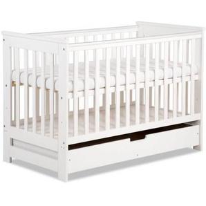 Lit bébé évolutif 120x60 - Blanc,Pin - 60 cm x 120 cm