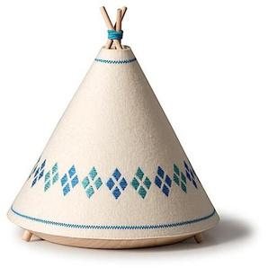 TIPI-Lampe à poser / Veilleuse en forme de Tipi H21cm Blanc et Bleu BUOKIDS