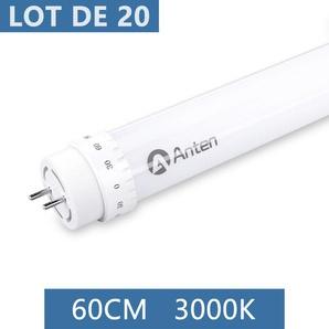 20×Anten 60CM T8 Tube LED 10W G13 Néon LED Tube Fluorescent 1000 Lumen Eclairage Plafonnier LED Blanc Chaud 3000K Starters Fournis