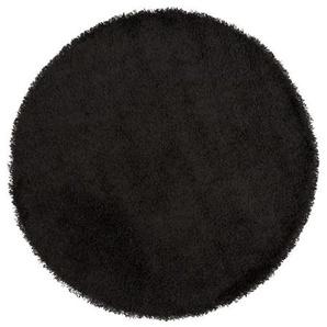 Tapis design rond à poils longs - Bray - Noir