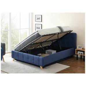CODY - Lit coffre scandinave en tissu bleu avec le sommier relevable 140 x 190 cm - MOBILIER DECO