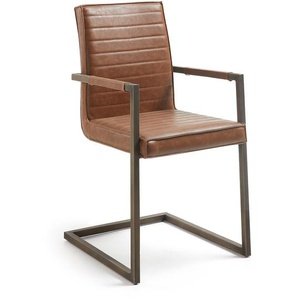 Kave Home - Chaise bras Tusk marron oxyde
