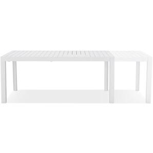 Table de jardin extensible SAMUI en aluminium blanc mat - 180(240)x100 cm