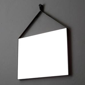 Miroir Rectangulaire Cm 70X50 Avec Faux Cuir Noir Pour Salle De Bain - KIAMAMI VALENTINA