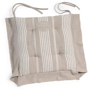 Galette de chaise à rayures en coton beige LA BASTIDE