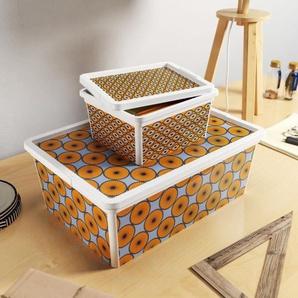 ABM Boîte de rangement C box Style - 18 L - Décor Wax - Marron et bleu