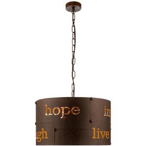 Suspension LED, décor poinçonnage rouille, H 110 cm, COLDINGHAM - ETC-SHOP
